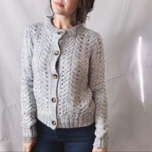 Point Sur J. CREW Mohair Pointelle Knit Cardigan